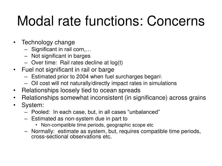 Modal rate functions: Concerns