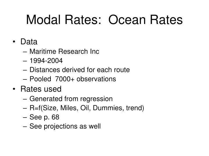 Modal Rates:  Ocean Rates