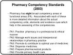 pharmacy competency standards 2003