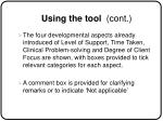 using the tool cont