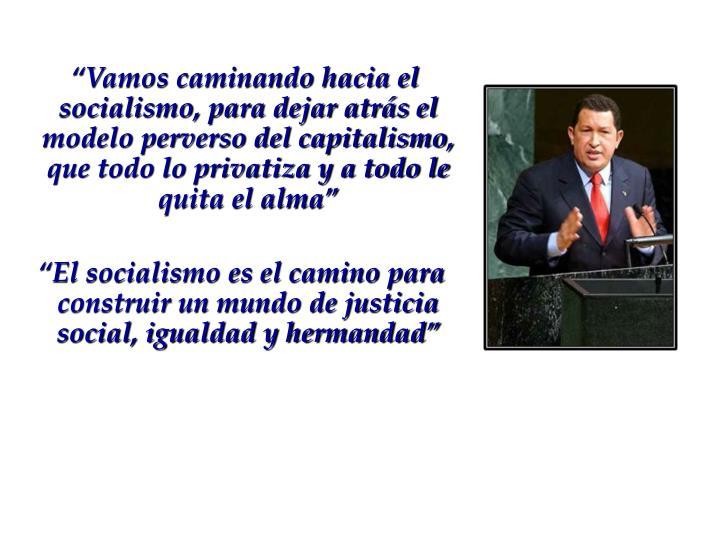 """""""Vamos caminando hacia el socialismo, para dejar atrás el modelo perverso del capitalismo, que todo lo privatiza y a todo le quita el alma"""""""