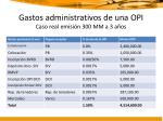 gastos administrativos de una opi caso real emisi n 300 mm a 3 a os