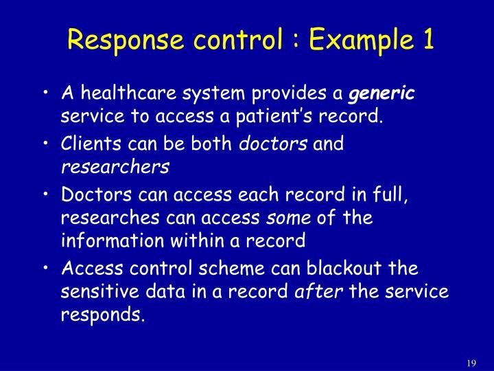 Response control : Example 1