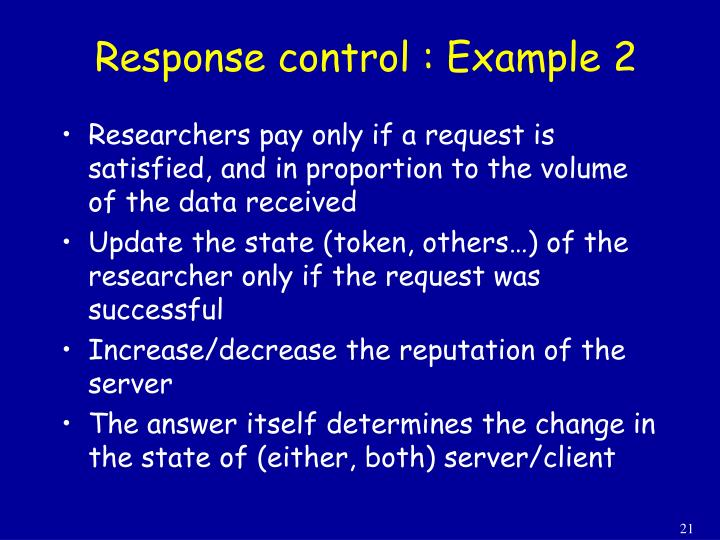 Response control : Example 2