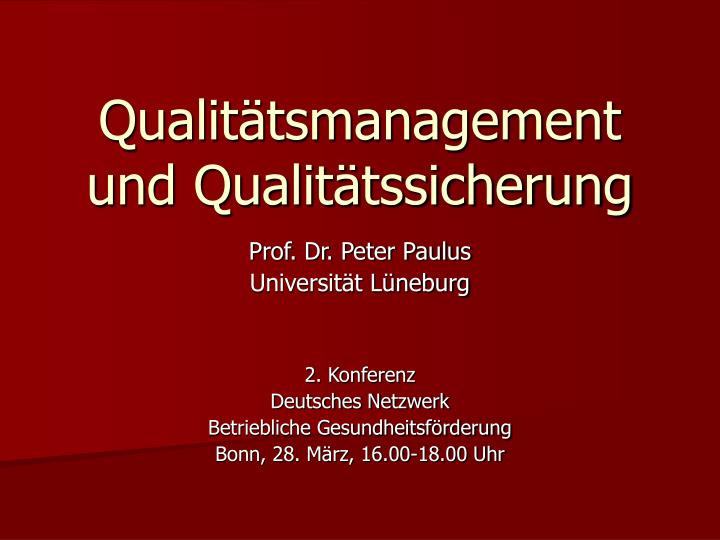 qualit tsmanagement und qualit tssicherung n.