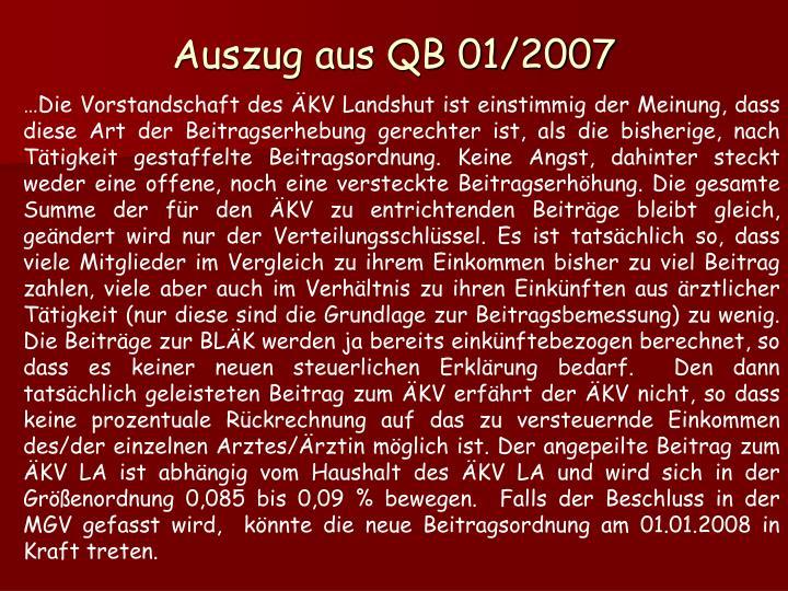 Auszug aus QB 01/2007