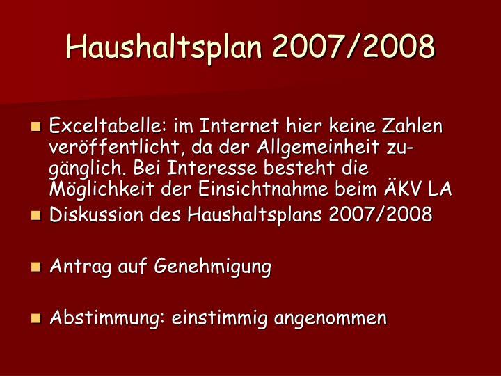 Haushaltsplan 2007/2008