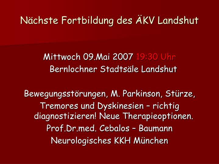 Nächste Fortbildung des ÄKV Landshut