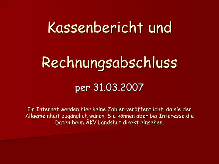 Kassenbericht und