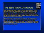 the bsd sockets architecture