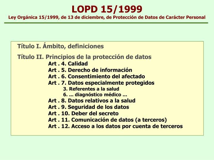 LOPD 15/1999