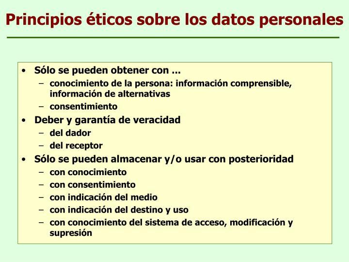 Principios éticos sobre los datos personales