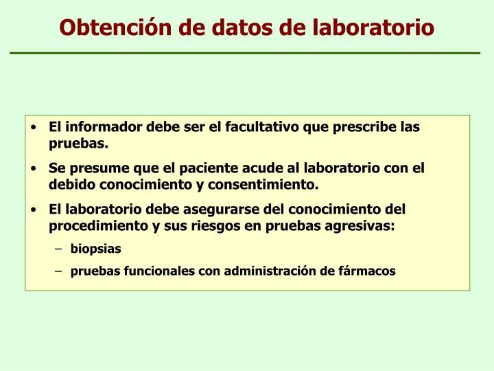 Obtención de datos de laboratorio