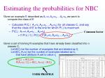 estimating the probabilities for nbc