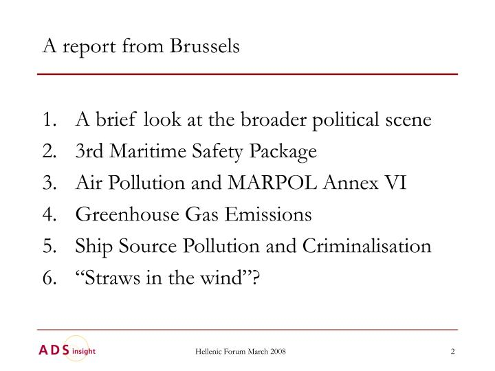 A report from brussels