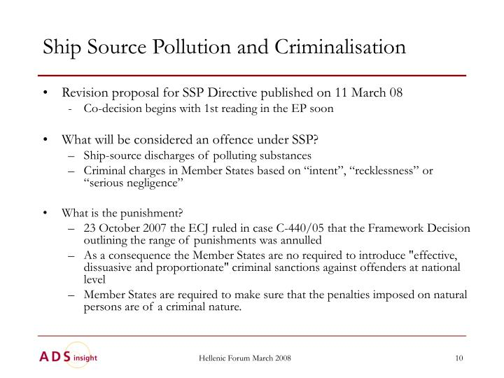 Ship Source Pollution and Criminalisation