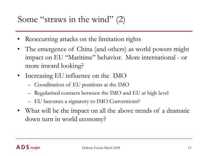 """Some """"straws in the wind"""" (2)"""