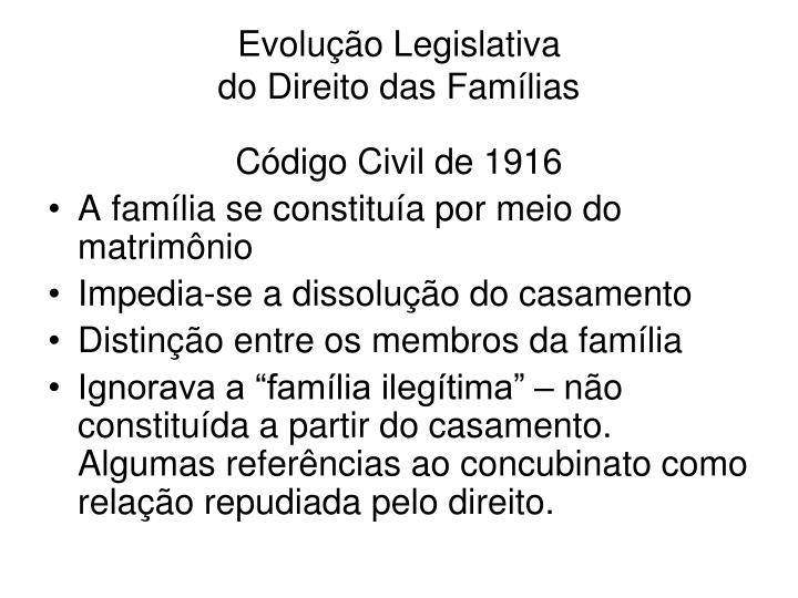 Evolu o legislativa do direito das fam lias