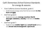 calif elementary school science standards for energy seasons
