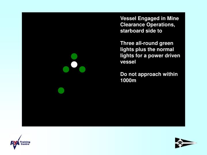 Vessel Engaged in Mine Clearance Operations, starboard side to