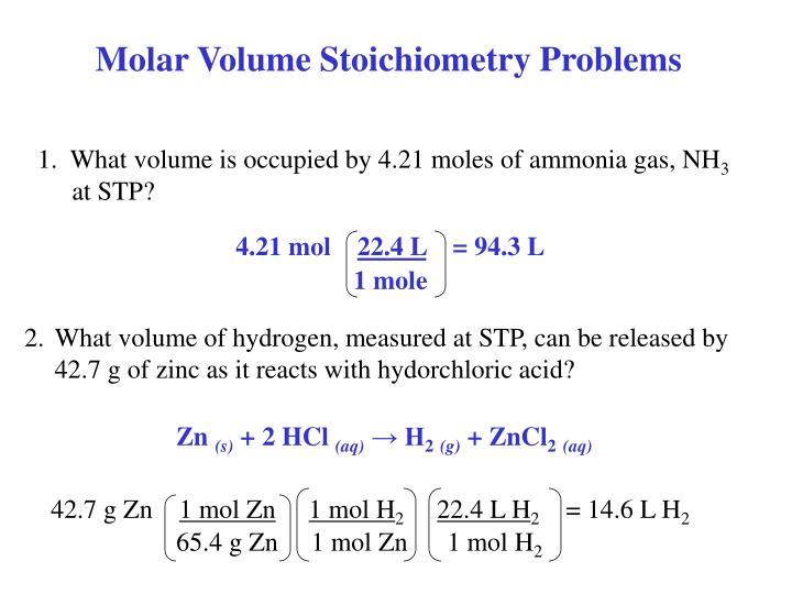 Molar Volume Stoichiometry Problems