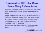 cumulative dpl sky wave from many urban areas