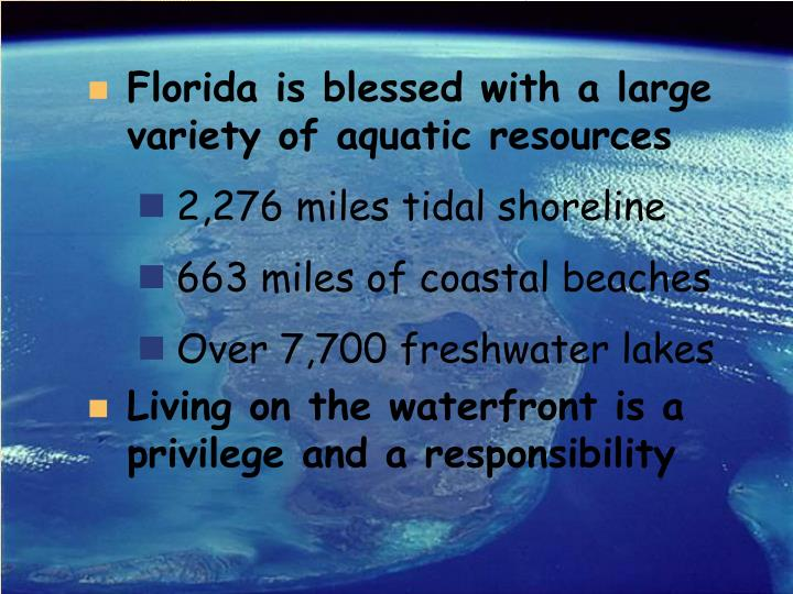 Florida is blessed with a large variety of aquatic resources