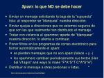 spam lo que no se debe hacer