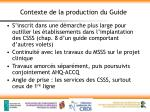contexte de la production du guide