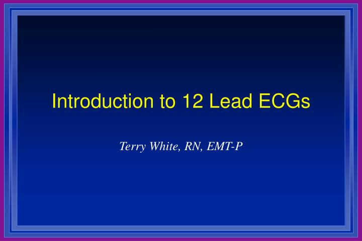 introduction to 12 lead ecgs n.