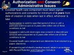 authorization and consent administrative issues