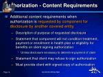 authorization content requirements10
