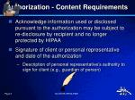 authorization content requirements5