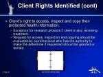 client rights identified cont