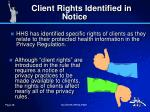 client rights identified in notice