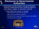 disclosure to governmental authorities