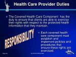 health care provider duties