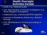 health oversight activities include