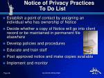 notice of privacy practices to do list