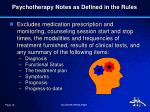 psychotherapy notes as defined in the rules1