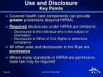 use and disclosure key points