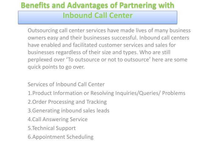 benefits and advantages of partnering with inbound call center n.