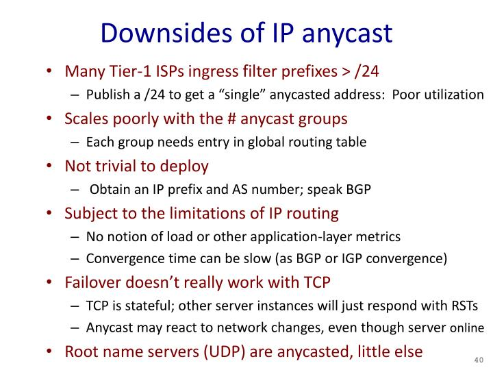 Downsides of IP anycast