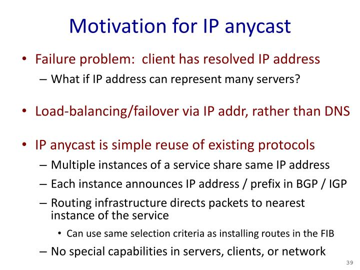 Motivation for IP anycast