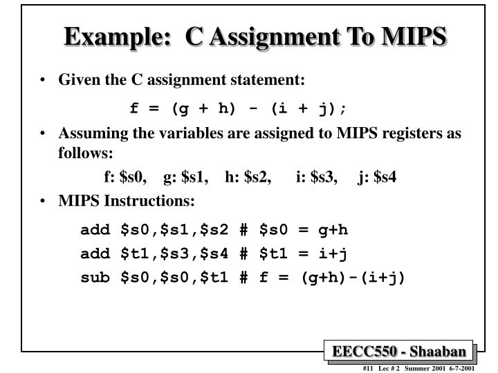 Example:  C Assignment To MIPS