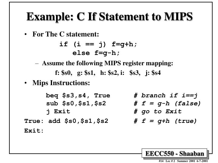 Example: C If Statement to MIPS