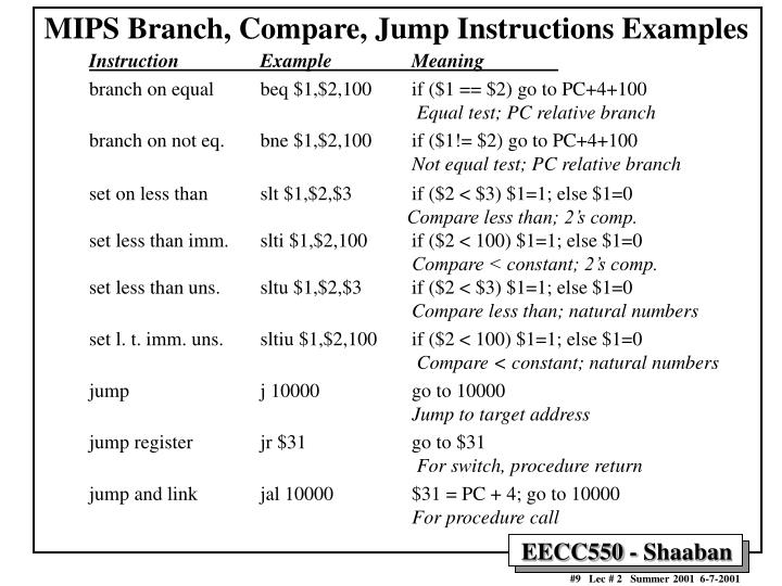 MIPS Branch, Compare, Jump Instructions Examples