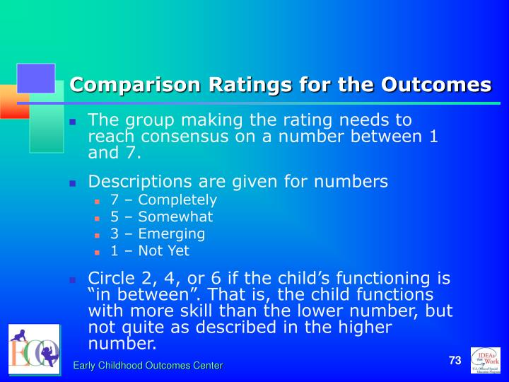 Comparison Ratings for the Outcomes