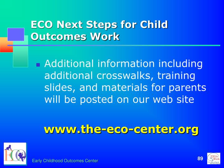 ECO Next Steps for Child Outcomes Work