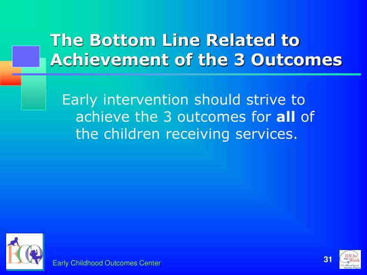 The Bottom Line Related to Achievement of the 3 Outcomes
